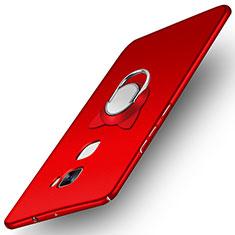 Coque Plastique Rigide Mat avec Support Bague Anneau A03 pour Huawei Mate S Rouge