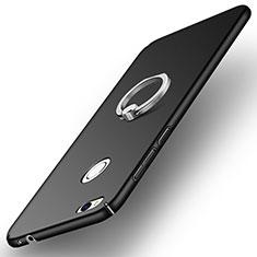 Coque Plastique Rigide Mat avec Support Bague Anneau A03 pour Huawei P8 Lite (2017) Noir