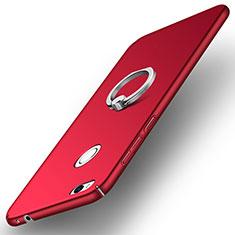Coque Plastique Rigide Mat avec Support Bague Anneau A03 pour Huawei P8 Lite (2017) Rouge