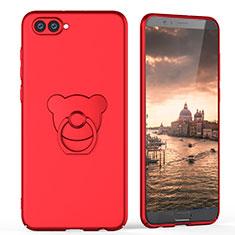 Coque Plastique Rigide Mat avec Support Bague Anneau A04 pour Huawei Honor V10 Rouge
