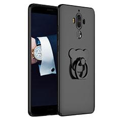 Coque Plastique Rigide Mat avec Support Bague Anneau A04 pour Huawei Mate 9 Noir