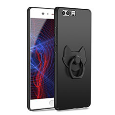 Coque Plastique Rigide Mat avec Support Bague Anneau A04 pour Huawei P10 Plus Noir