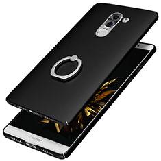 Coque Plastique Rigide Mat avec Support Bague Anneau A07 pour Huawei Honor 6X Noir