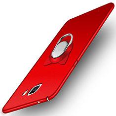 Coque Plastique Rigide Mat avec Support Bague Anneau Aimante pour Samsung Galaxy A9 Pro (2016) SM-A9100 Rouge