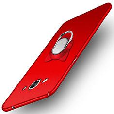 Coque Plastique Rigide Mat avec Support Bague Anneau Aimante pour Samsung Galaxy J3 Pro (2016) J3110 Rouge