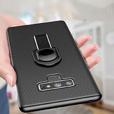 Coque Plastique Rigide Mat avec Support Bague Anneau Aimante pour Samsung Galaxy Note 9 Noir