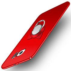 Coque Plastique Rigide Mat avec Support Bague Anneau Aimante pour Samsung Galaxy S6 SM-G920 Rouge