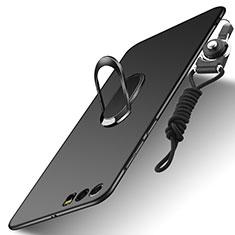 Coque Plastique Rigide Mat avec Support Bague Anneau et Laniere pour Huawei Honor 9 Noir