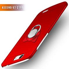 Coque Plastique Rigide Mat avec Support Bague Anneau pour Huawei Ascend G7 Rouge