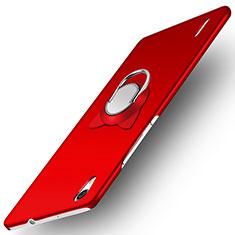 Coque Plastique Rigide Mat avec Support Bague Anneau pour Huawei Ascend P7 Rouge