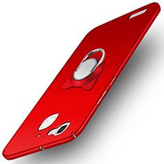 Coque Plastique Rigide Mat avec Support Bague Anneau pour Huawei Enjoy 5S Rouge