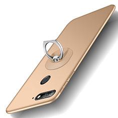 Coque Plastique Rigide Mat avec Support Bague Anneau pour Huawei Enjoy 8e Or