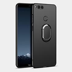 Coque Plastique Rigide Mat avec Support Bague Anneau pour Huawei Honor 7X Noir