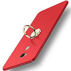 Coque Plastique Rigide Mat avec Support Bague Anneau pour Huawei Honor Play 5X Rouge