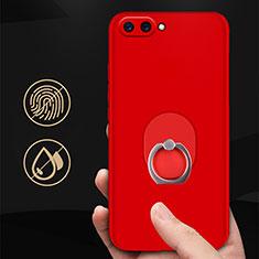 Coque Plastique Rigide Mat avec Support Bague Anneau pour Huawei Honor V10 Rouge