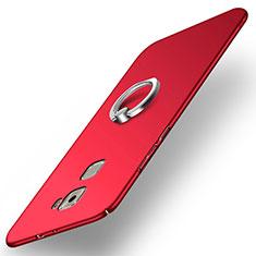 Coque Plastique Rigide Mat avec Support Bague Anneau pour Huawei Mate S Rouge