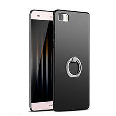 Coque Plastique Rigide Mat avec Support Bague Anneau pour Huawei P8 Lite Noir