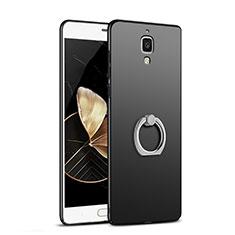 Coque Plastique Rigide Mat avec Support Bague Anneau pour Xiaomi Mi 4 LTE Noir