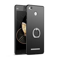 Coque Plastique Rigide Mat avec Support Bague Anneau pour Xiaomi Redmi 3S Prime Noir