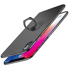 Coque Plastique Rigide Mat avec Support Bague Anneau Q02 pour Apple iPhone Xs Noir