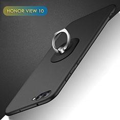 Coque Plastique Rigide Mat avec Support Bague Anneau Q02 pour Huawei Honor View 10 Noir
