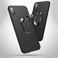 Coque Plastique Rigide Mat avec Support Bague Anneau T01 pour Apple iPhone X Noir