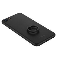 Coque Plastique Rigide Mat et Support Bague Anneau F01 pour Apple iPhone SE (2020) Noir