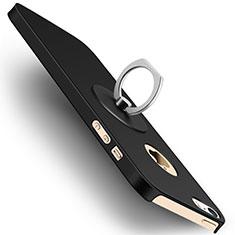 Coque Plastique Rigide Mat et Support Bague Anneau pour Apple iPhone SE Noir