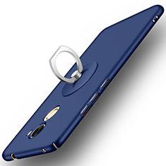 Coque Plastique Rigide Mat et Support Bague Anneau pour Huawei Enjoy 7 Plus Bleu