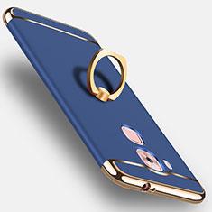 Coque Plastique Rigide Mat et Support Bague Anneau pour Huawei G9 Plus Bleu