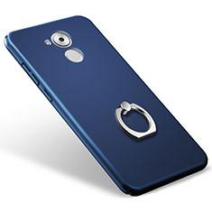 Coque Plastique Rigide Mat et Support Bague Anneau pour Huawei Honor 6C Bleu
