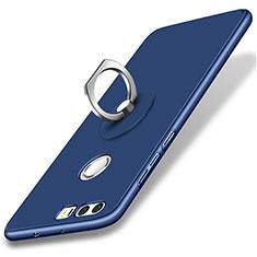 Coque Plastique Rigide Mat et Support Bague Anneau pour Huawei Honor 8 Bleu