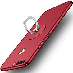 Coque Plastique Rigide Mat et Support Bague Anneau pour Huawei Honor 8 Pro Rouge