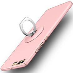 Coque Plastique Rigide Mat et Support Bague Anneau pour Huawei Honor 9 Premium Rose