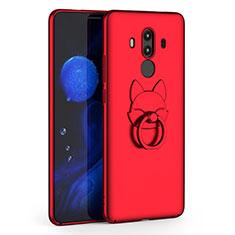 Coque Plastique Rigide Mat et Support Bague Anneau pour Huawei Mate 10 Pro Rouge