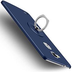 Coque Plastique Rigide Mat et Support Bague Anneau pour Huawei Mate 7 Bleu