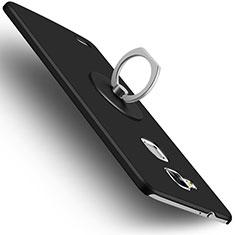 Coque Plastique Rigide Mat et Support Bague Anneau pour Huawei Mate 7 Noir