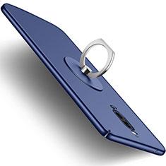 Coque Plastique Rigide Mat et Support Bague Anneau pour Huawei Mate 9 Pro Bleu