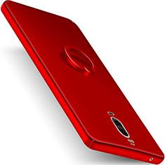 Coque Plastique Rigide Mat et Support Bague Anneau pour Huawei Mate 9 Pro Rouge