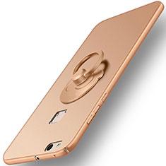 Coque Plastique Rigide Mat et Support Bague Anneau pour Huawei P10 Lite Or