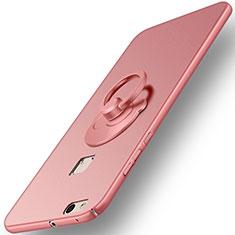 Coque Plastique Rigide Mat et Support Bague Anneau pour Huawei P10 Lite Or Rose