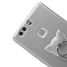 Coque Plastique Rigide Mat et Support Bague Anneau pour Huawei P9 Plus Argent