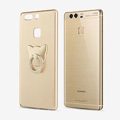Coque Plastique Rigide Mat et Support Bague Anneau pour Huawei P9 Plus Or