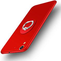 Coque Plastique Rigide Mat et Support Bague Anneau pour Huawei Y6 II 5.5 Rouge