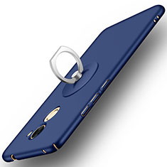 Coque Plastique Rigide Mat et Support Bague Anneau pour Huawei Y7 Prime Bleu