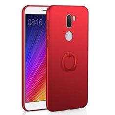 Coque Plastique Rigide Mat et Support Bague Anneau pour Xiaomi Mi 5S Plus Rouge