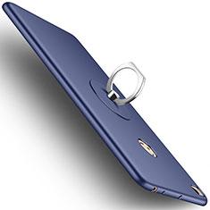 Coque Plastique Rigide Mat et Support Bague Anneau pour Xiaomi Mi Max 2 Bleu