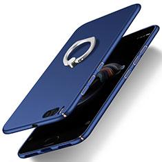 Coque Plastique Rigide Mat et Support Bague Anneau pour Xiaomi Mi Note 3 Bleu