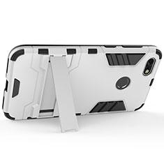 Coque Plastique Rigide Mat et Support pour Huawei Enjoy 7 Argent