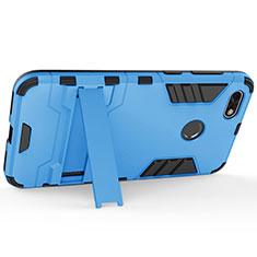 Coque Plastique Rigide Mat et Support pour Huawei Enjoy 7 Bleu